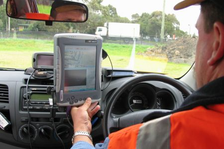 Supervis on a computer mounted in a car